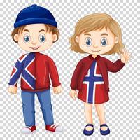 Jongen en meisje die het overhemdontwerp van Noorwegen dragen