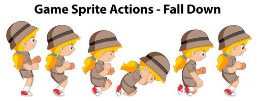 Spel sprite acties vallen meisje