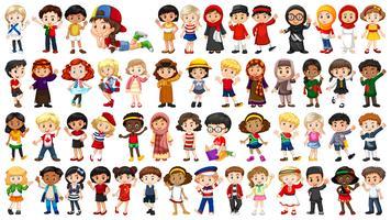 Set van multicultureel karakter vector