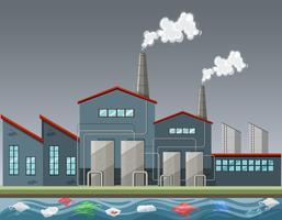 Fabriek maakt veel rook vector