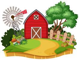 Huis op plattelandsachtergrond vector