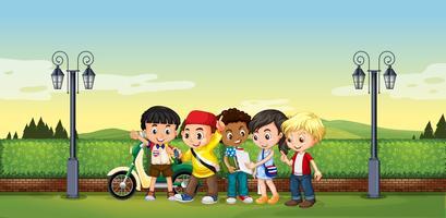 Kinderen staan in het park vector