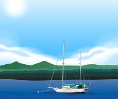 Zeilboot drijvend in de zee vector