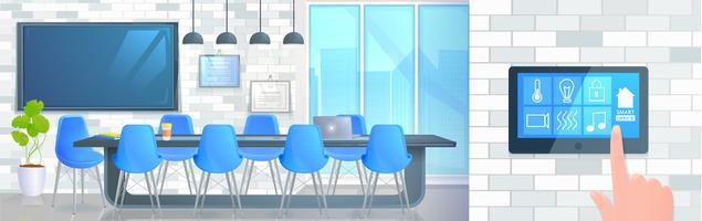 Slimme thuiskantoor banner. Moderne conferentieruimte met een bedieningsscherm en hand. cartoon afbeelding