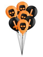 Fijne Halloween dag. Een armvol zwarte en oranje ballonnen met kruisen en schedels. Platte vectorillustratie