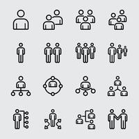 Commercieel team en lijnpictogram organiseren vector
