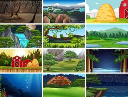 Set van natuur landschap vector