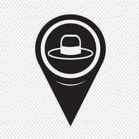 Kaart aanwijzer hoed pictogram vector