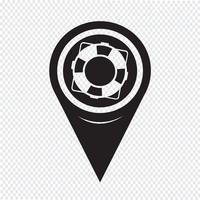 Kaart aanwijzer reddingsboei pictogram