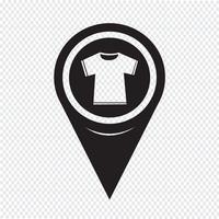 Kaart aanwijzer Tshirt pictogram vector