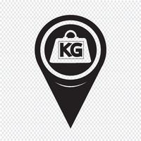 Kaart aanwijzer gewicht kilogram pictogram vector