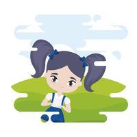 schattig klein studentenmeisje in landschapsscène