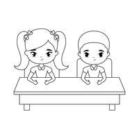 kleine studenten zitten op schoolbank