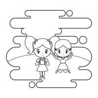 schattige kleine student meisjes in landschapsscène