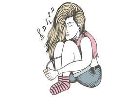 vrouw luisteren muziek alleen vector illustratie