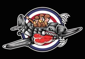 orkaan vliegtuig vlees drie man vector illustratie