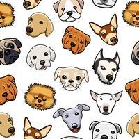 Naadloze hond hoofd patroon vector