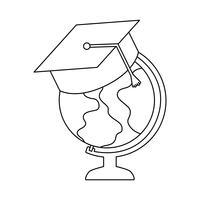 aardse wereldbol met hoed afstuderen