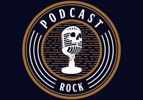 microfoon schedel podcast rock vector
