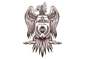 Phoenix hand tekenen club vector illustratie