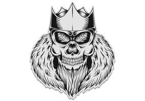 schedel koning sticker vectorillustratie