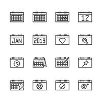 Kalender gerelateerde icon set. Vector illustratie