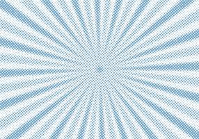Retro blauwe zonnestraal en stralen strip cartoon halftone stijl achtergrond. Abstracte vintage grunge met zonlicht.