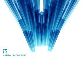 Het abstracte perspectief van het motie geometrische glanzende blauwe overlappende technologieconcept op witte achtergrond met exemplaarruimte
