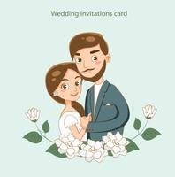 schattige bruid en bruidegom voor bruiloft uitnodigingen kaart