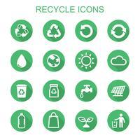 recycle lange schaduw pictogrammen