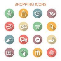 winkelen lange schaduw pictogrammen