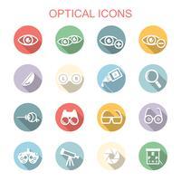 optische lange schaduw pictogrammen vector