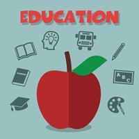 rode appel met onderwijspictogrammen vector