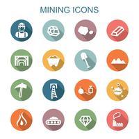 mijnbouw lange schaduw pictogrammen vector