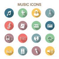 muziek lange schaduw pictogrammen