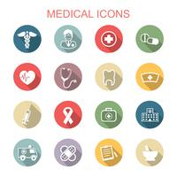 medische lange schaduw pictogrammen vector