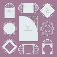 Bruiloft uitnodigingen. Kantachtergrond met plaats voor tekst. Kantframes voor decoratie en ontwerp.