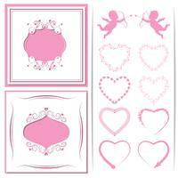 Een set van papier gesneden kader. Set van harten tot cupido's en design. Vector illustratie