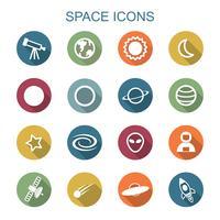 ruimte lange schaduw pictogrammen