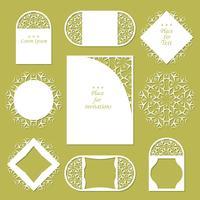 Bruiloft uitnodigingen. Kantachtergrond met plaats voor tekst. Kantframes voor decoratie en ontwerp. vector