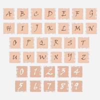 Grunge pictogrammen met letters van het alfabet en cijfers