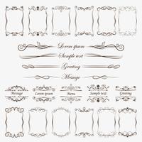 Een grote verzameling frames en scheidingslijnen voor het verwerken van uw ideeën, groet, wenskaart. vector