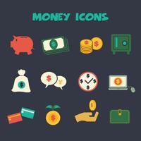 geld gekleurde pictogrammen vector