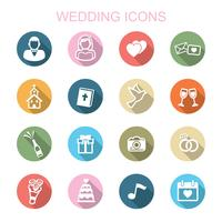 bruiloft lange schaduw pictogrammen vector