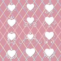 Collectie van versierde harten.