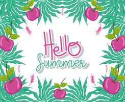 Hallo zomer tekenfilms vector