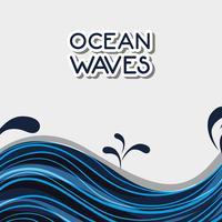 oceaangolven met natuurlijk plantenontwerp vector