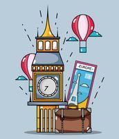Big Ben-monument met luchtballon en tas vector