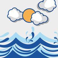 oceaan golven met lanscape wolken ontwerp vector