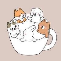 Cartoon schattige dieren in cup vector.